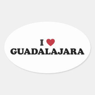 I corazón Guadalajara México Calcomanía Oval