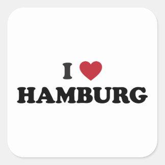 i corazón Hamburgo Alemania Pegatina Cuadrada