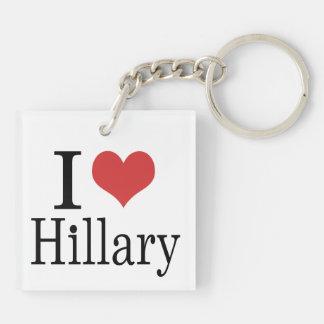 I corazón Hillary Llavero Cuadrado Acrílico A Doble Cara