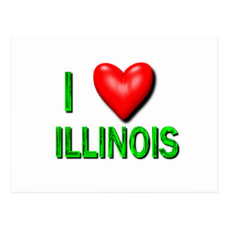I corazón Illinois Tarjeta Postal