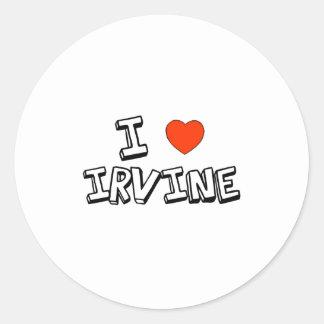 I corazón Irvine Pegatina Redonda