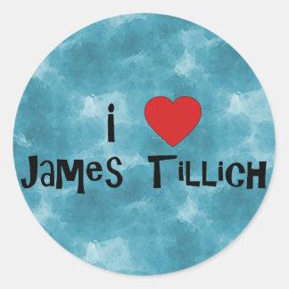 I corazón James Tillich Pegatina Redonda