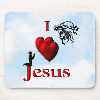 I corazón Jesús con el muchacho Tapetes De Ratones