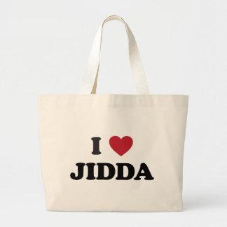 I corazón Jidda la Arabia Saudita Bolsa Tela Grande
