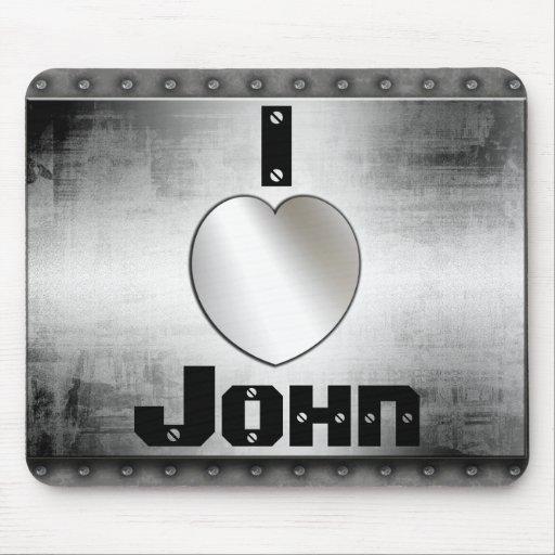 ¿I corazón Juan o? Metal fresco Mousepad Tapete De Ratón