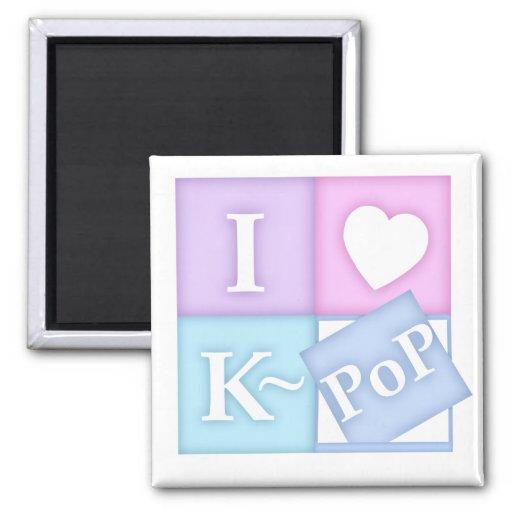 I corazón K~Pop Imán Cuadrado