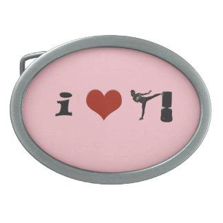¡I corazón Kickboxing! ¡Personalícelo! Hebilla Cinturón Oval