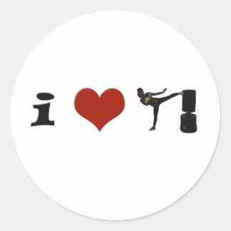 ¡I corazón Kickboxing! ¡Personalícelo! Pegatina Redonda