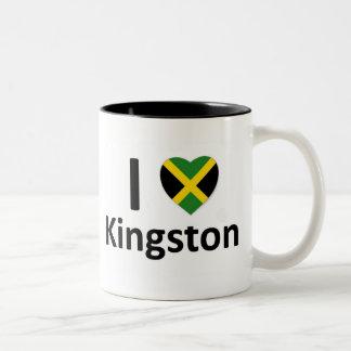 I corazón Kingston (Jamaica) Taza Dos Tonos