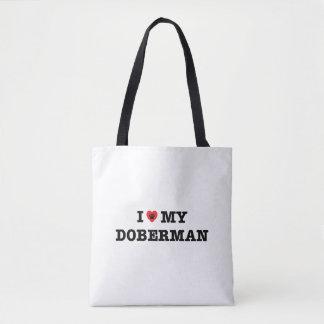 I corazón la mi bolsa de asas del Doberman
