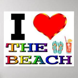 I corazón la playa póster