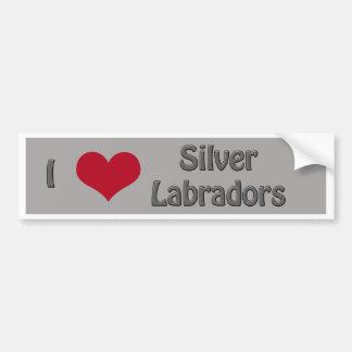I corazón Labradors de plata Pegatina De Parachoque
