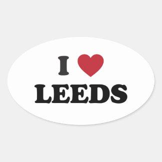 I corazón Leeds Inglaterra Pegatina Ovalada