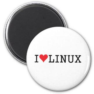 I corazón Linux 2 Imán Redondo 5 Cm