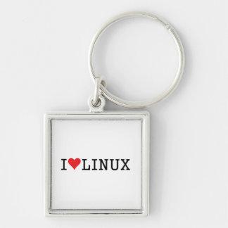 I corazón Linux 2 Llavero Cuadrado Plateado