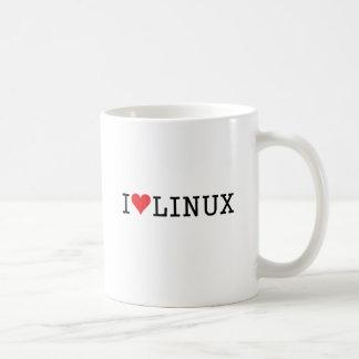 I corazón Linux 2 Taza Básica Blanca