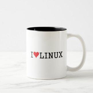 I corazón Linux 2 Taza De Dos Tonos