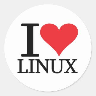 I corazón Linux Pegatina Redonda