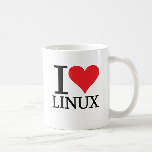 I corazón Linux Taza Básica Blanca