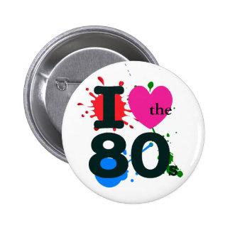 I corazón los años 80 pin redondo 5 cm