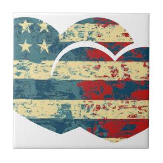 I corazón los E.E.U.U. Azulejo Cuadrado Pequeño