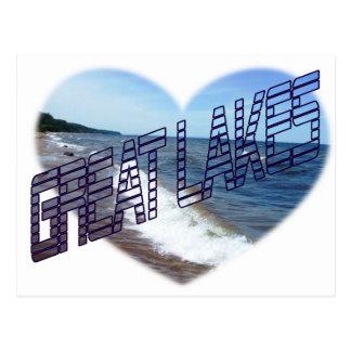 I corazón los Great Lakes Tarjeta Postal
