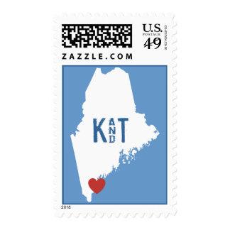 I corazón Maine - sello adaptable de la ciudad