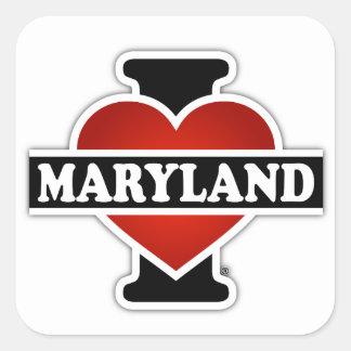 I corazón Maryland Pegatina Cuadrada