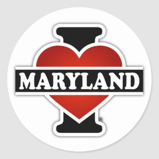 I corazón Maryland Pegatina Redonda