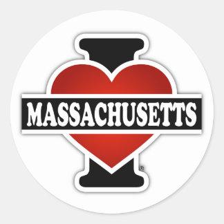 I corazón Massachusetts Pegatina Redonda