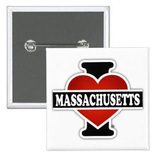 I corazón Massachusetts Pin Cuadrado