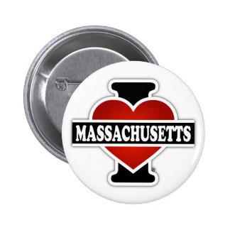 I corazón Massachusetts Pin Redondo De 2 Pulgadas