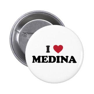I corazón Medina la Arabia Saudita Pin Redondo De 2 Pulgadas