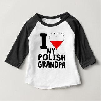 I corazón mi abuelo polaco playera de bebé