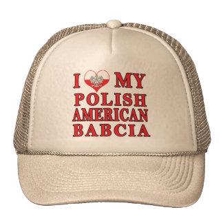 I corazón mi americano polaco Babcia Gorros Bordados