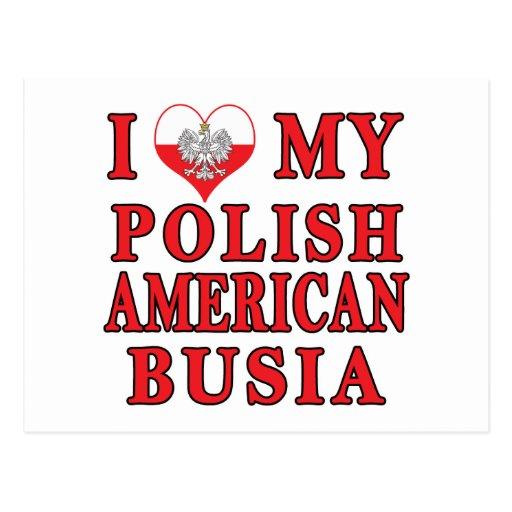 I corazón mi americano polaco Busia Tarjeta Postal