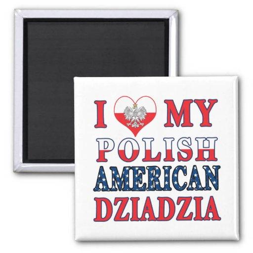I corazón mi americano polaco Dziadzia Imán Para Frigorifico