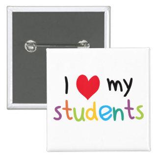 I corazón mi amor del profesor de estudiantes pin cuadrado