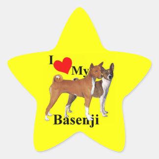 I corazón mi Basenji Colcomanias Forma De Estrellaes