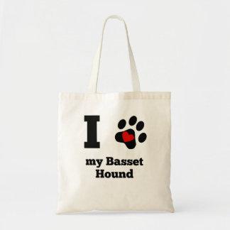 I corazón mi Basset Hound Bolsa Tela Barata