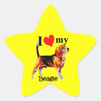 I corazón mi beagle colcomanias forma de estrella
