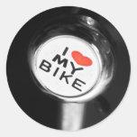 I corazón mi bici etiqueta redonda