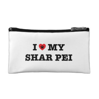 I corazón mi bolso del cosmético de Shar Pei