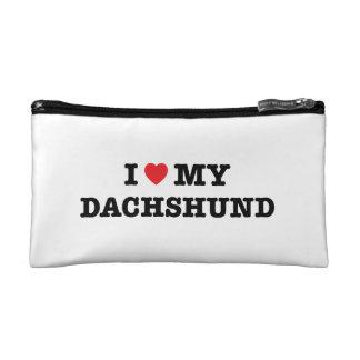 I corazón mi bolso del cosmético del Dachshund