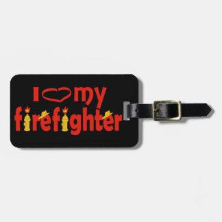 I corazón mi bombero etiqueta de maleta