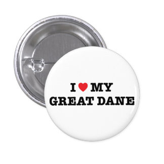 I corazón mi botón de great dane pin redondo de 1 pulgada