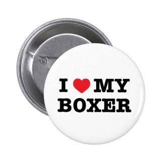 I corazón mi botón del boxeador pin redondo de 2 pulgadas
