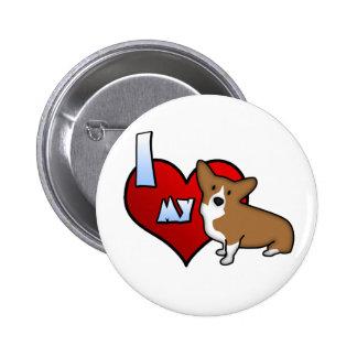 I corazón mi botón del Corgi Galés del Pembroke Pin Redondo De 2 Pulgadas