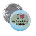 I [corazón] mi botón del superviviente de la lesió pin