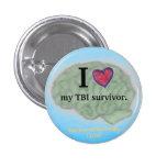 I [corazón] mi botón del superviviente de TBI Pin